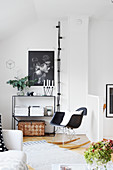 Modern rocking chair in black and white living room