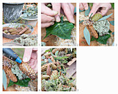 Tying a wreath of Eucalyptus populus, ivy and cones