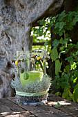 DIY-Windlicht, dekoriert mit Stacheldrahtpflanze und Anhängern mit Herbstfrüchten