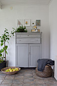 Grey cabinet, houseplants, shallow basket of apples and bag in foyer