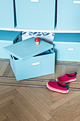 Pale blue storage boxes and child's shoes