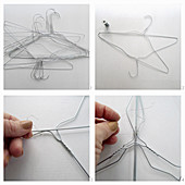 Instructions for making a lampshade from wire coathangers
