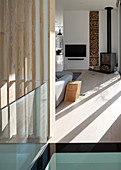 Patterns of straight lines and sunshine in modern living room