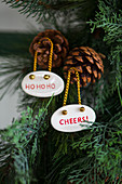 Pendants with mottoes hung from pine cones on tree