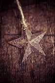 Vintage star decoration on wooden surface