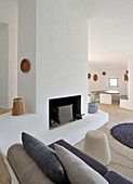 Fireplace in white lounge