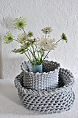 Queen Anne's lace in vase with grey cover