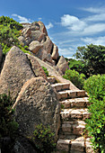 Steps leading between granite boulders
