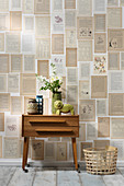 Hand-crafted wallpaper made from pages of old books