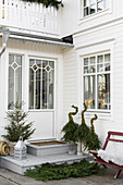 Festively decorated front door of Swedish house
