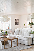 Cosy, white living room in winter