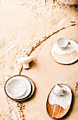 Dishes on sand table