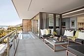 Pool on elegant balcony in shades of grey