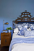 Chinese style bedroom with light blue wall