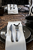Black and white place setting for Halloween