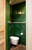 Toilet in room with Oriental-style green walls