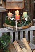 Rustic Advent arrangement on wooden board