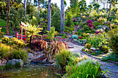 Hillside gardens with pond and bridge in Japanese style (Tasmania, Australia)