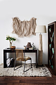 Home office in shades of brown and decorated with natural materials