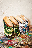 Clogs with floral uppers