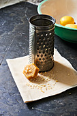 Beeswax, grater and grated beeswax