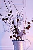 Zweige mit Zapfen und silberfarbenen Sternanhängern als Weihnachtsdeko