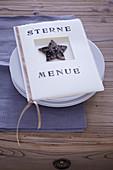 Handmade menu for Christmas dinner