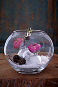 DIY snow globe decorated with ranunculus and larch twigs