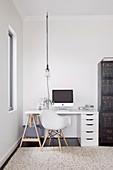 Desk on a pedestal and drawer cabinet