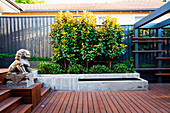 Modern back yard garden with terrace, beds and pergola