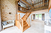 Staircase in old barn converted into home
