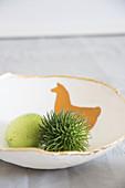 Handmade fruitbowl with lama motif