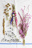 Dried flowers tied in posies