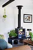 Black fireplace with bench and houseplants in the living room
