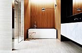 Elegantes Badezimmer mit Marmor- und Holzverkleidung