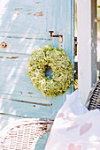 Door Wreath Of Hydrangea Flowers
