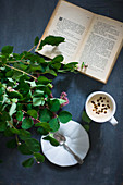 Leafy twigs, open book and cup of coffee on black surface