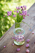 Flowering chives and chive-flower vinegar