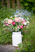 Spring Bouquet With Ranunculus, Tulips, Carnations And Gypsophila