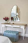 French-style dressing table and blue velvet stool