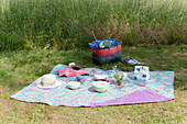 Bowls with lids, cake in bag and lunch bag on oilcloth picnic blanket