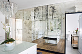 Patinated mirrored wall in dressing room