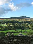 Blick auf Ackerland und Waldgebiete (England)