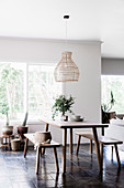 Minimalist wooden furniture in a natural, simple dining room