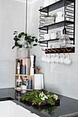 Crockery on shelves and pendant lamp above black worksurface
