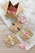 Origami envelopes and gift boxes