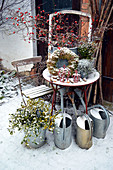 Winter Terrace With Rosehip Bouquet
