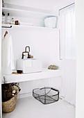 White bathroom with vintage style vanity