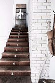 Stairway with numbered wooden steps