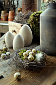 Easter Nest With Quail Eggs And Ceramic Eggs